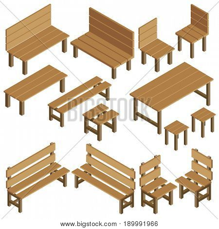 Isometric garden furniture for park, city, summer residence. Wooden table, chair, bench, stool. Icons landscape design for game, map, print, ets. Isolated on white background.