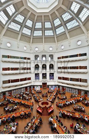 MELBOURNE - May 13 2017: La Trobe reading room at the State Library of Victoria in Melbourne. The library holds over 2 million books.  It is the central library of the state of Victoria, Australia.