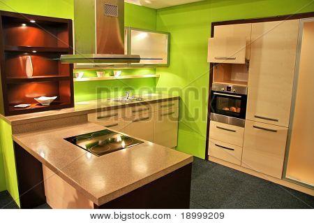 Attractive green kitchen