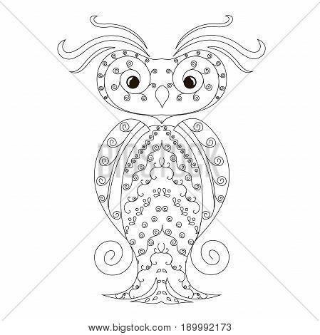 Anti stress abstract owl, hand drawn monochrome vector illustration