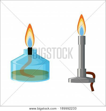 Chemical equipment. Alcohol spirit burner and Bunsen burner with flames isolated on white background. Cartoon vector illustration in flat style.