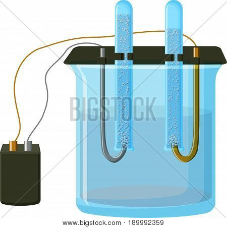 Water electrolysis process - decomposition to oxygen and hydrogen gases. Diagram of equipment for electrolysis. Educational chemistry. Cartoon vector illustration in flat style.