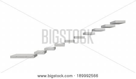 3d rendering of a grey stone staircase made of separate concrete blocks hanging in the air on white background. Going up. Corporate ladder. Unreliable choice.