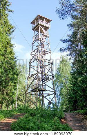 watchtower in the pine forest, wooden watchtower