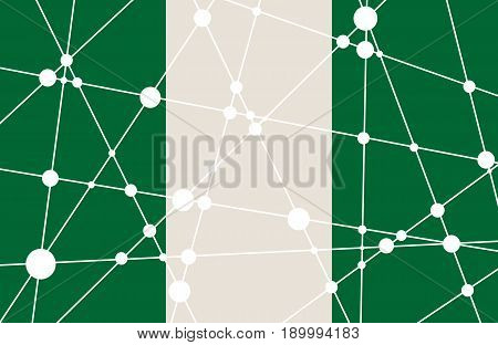 Flag of the Nigeria. Low poly concept triangular style. Molecule And Communication Background. Connected lines with dots.