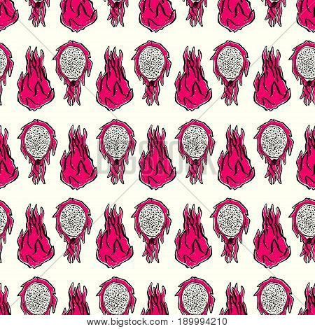 Seamless pattern with ink hand-drawn dragonfruits on light background. Vector illustration
