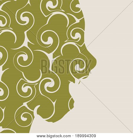 Face side view. Elegant silhouette of a female head decorated by spiral pattern. Vector Illustration. Monochrome gamma. Surprised beautiful woman smiling with open mouth isolated