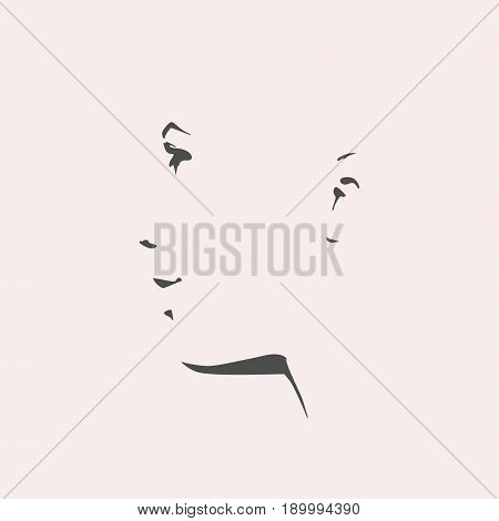Face side view. Elegant silhouette of a female head. Vector Illustration. Monochrome gamma.