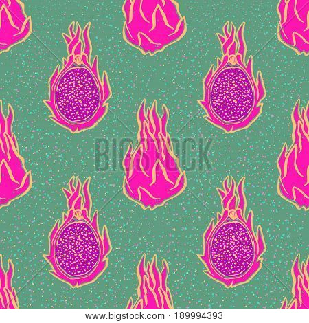 Seamless pattern with ink hand-drawn dragonfruits on green background. Vector illustration