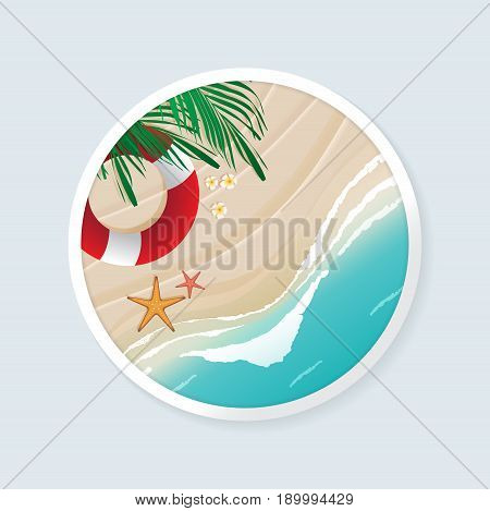 Top view of beach scene with coconut leaves flowers lifebuoy and starfishes in white circle frame. Vector illustration of seascape.