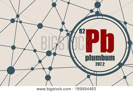 Plumbum chemical element. Sign with atomic number and atomic weight. Chemical element of periodic table. Molecule And Communication Background. Connected lines with dots.