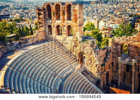 Odeon of Herodes Atticus in Acropolis of Athens, Greece