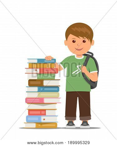 Schoolboy with school bag stand beside stack of books. Training and self-education. Vector illustration in flat style.