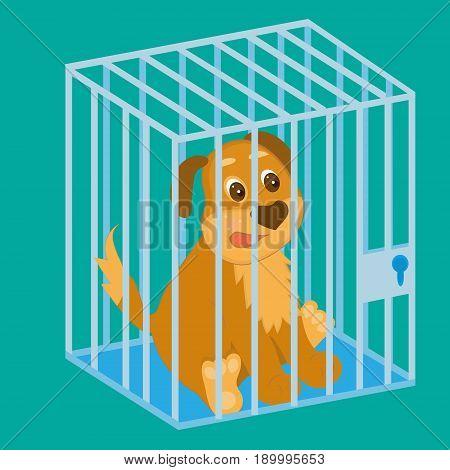 sad dog in cage. cartoon vector, editable layers