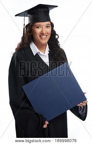 Girl Student Hold Big Diploma