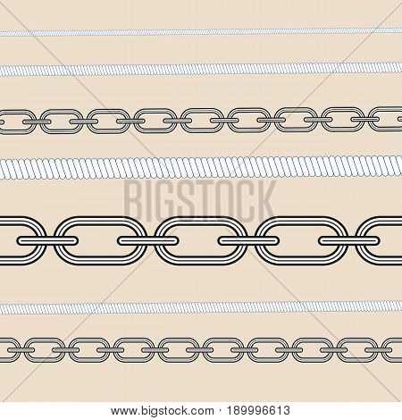 Rope knots marine cord cable seamless pattern design loop nautical tool. Decorative rope knot elements. Vector illustration strong, line, pattern, sea, white, noose, element.