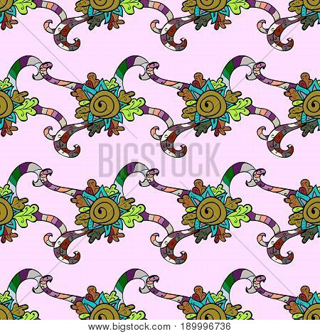 Ornamental pattern on colorful background with ornamental elements. Vector vintage baroque floral seamless pattern in superb. Luxury royal and Victorian concept. Ornate decoration.