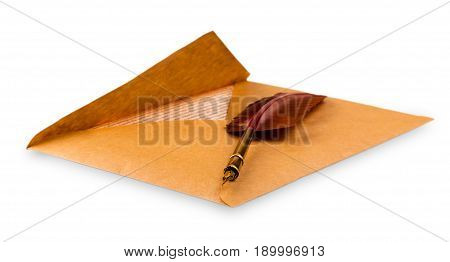 Envelope And an old fountain pen on a white background
