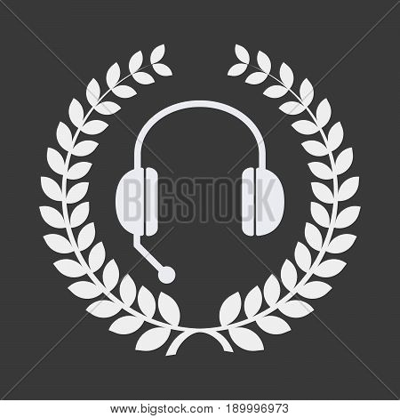 Isolated Laurel Wreath With  A Hands Free Phone Device