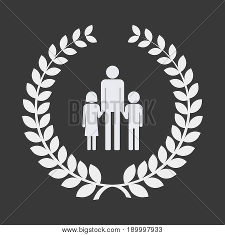 Isolated Laurel Wreath With A Male Single Parent Family Pictogram