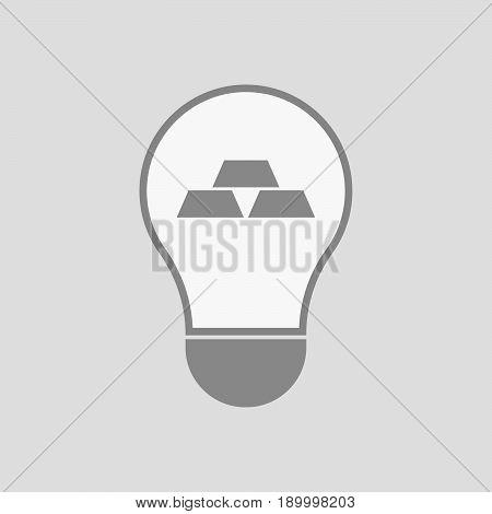 Isolated Light Bulb With Three Gold Bullions