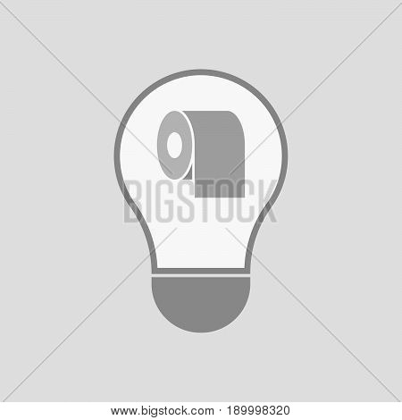 Isolated Light Bulb With A Toilet Paper Roll