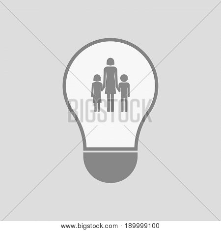 Isolated Light Bulb With A Female Single Parent Family Pictogram