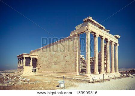 Erechtheum temple ruins in the Acropolis of Athens, Greece