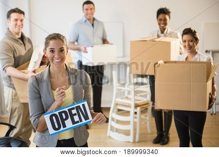Business people opening new office