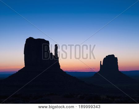 Silhouette of rock formations in Monument Valley, Arizona, United States
