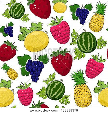 Fruit Berry Seamless Pattern Juicy Watermelon and Red Strawberry Pink Raspberries with Fresh Pineapple Ripe Grapes and Sweet Ananas Vector Illustration