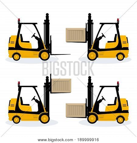 Forklift Truck with Different Cargo Positions Vehicle Forklift Picks up a Box Cargo Below in the Middle and Above and Without Vector Illustration