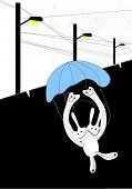 Abstract rabbit play parachute poster