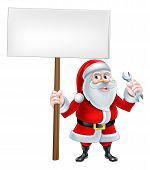 A Christmas cartoon illustration of mechanic Santa Claus holding sign and spanner poster