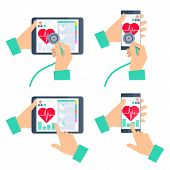 Doctor's hand holding stethoscope and checking heartbeat on the digital tablet screen. Medic online exams a patient by mobile phone. Tele, online, remote medicine concept. Vector flat illustration set poster