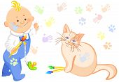 little baby boy and a cat drawing colorful cat tracks everywhere and children's hands and feet poster