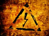 high voltage sign, grunge background poster