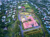 Cathedral in Managua Nicaragua aerial above view from drone poster
