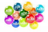 Set of amino acids. AAKG ALC BCAA CLA CoQ10 GABA DGL HMB MCT MSM SAMe DMG PABA 3D rendering isolated on white background poster