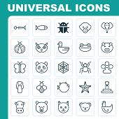 Zoology Icons Set. Collection Of Ladybird, Kine, Trunked Animal And Other Elements. Also Includes Symbols Such As Animal, Starfish, Piggy. poster