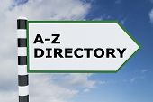 "3D illustration of ""A-Z DIRECTORY"" script on road sign poster"