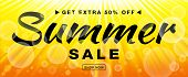 Summer sale template vector banner with sun rays. Glow horizontal sunlight yellow background. Sunshine glare heat with flash rays and bubbles backdrop. Campaign sale 50 procents off. poster