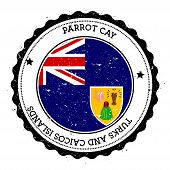 Parrot Cay flag badge. Vintage travel stamp with circular text stars and island flag inside it. Vector illustration. poster