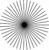 Sunburst starburst shape black on white. Rays beams design element. Radiating merging lines radial . Abstract circular geometric figure. Vector illustration. Dynamic style. poster