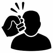 Black Crime Violation Fist Strike interface toolbar icon. Vector pictogram style is a flat symbol on diagonal hatch transparent background. poster