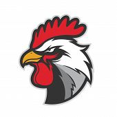 Clipart picture of a chicken rooster head cartoon mascot logo character poster