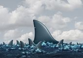 Big fish concept Business metaphor as a group of smaller sharks being overshadowed by a huge domineering shark as a symbol for strength and competition with 3D illustration elements. poster