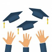 Graduates throwing graduation hats in the air. Concept of education. Graduating students. Flying academic hats. Ceremony of finish off educational institution. Flat cartoon design. Vector illustration poster
