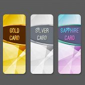 Three vip premium membership vertical cards flyers layout. Premium exclusive privilege private retail services. Gold silver and sapphire luxurious geometrical background pattern. Vector illustration poster