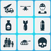 Warfare Icons Set. Collection Of Cranium, Ordnance, Panzer And Other Elements. Also Includes Symbols Such As Oficer, Rockets, Fugitive. poster